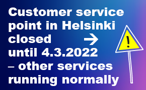 Customer service point closed until 31.3.2021 - other services are running normally